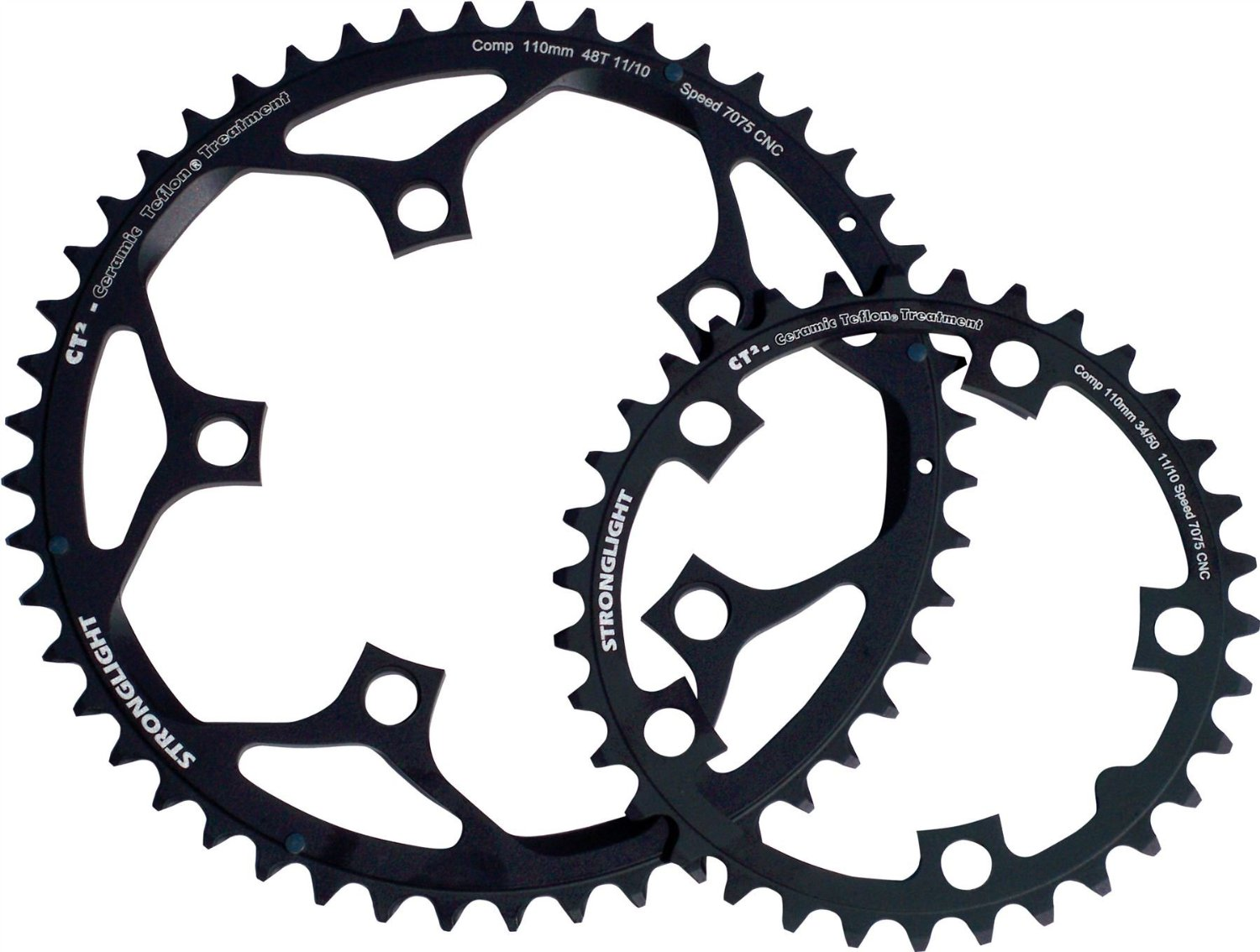 Stronglight CT2 Ceramic Teflon Black 110mm Shimano Compact Chainring - 49T (273573)