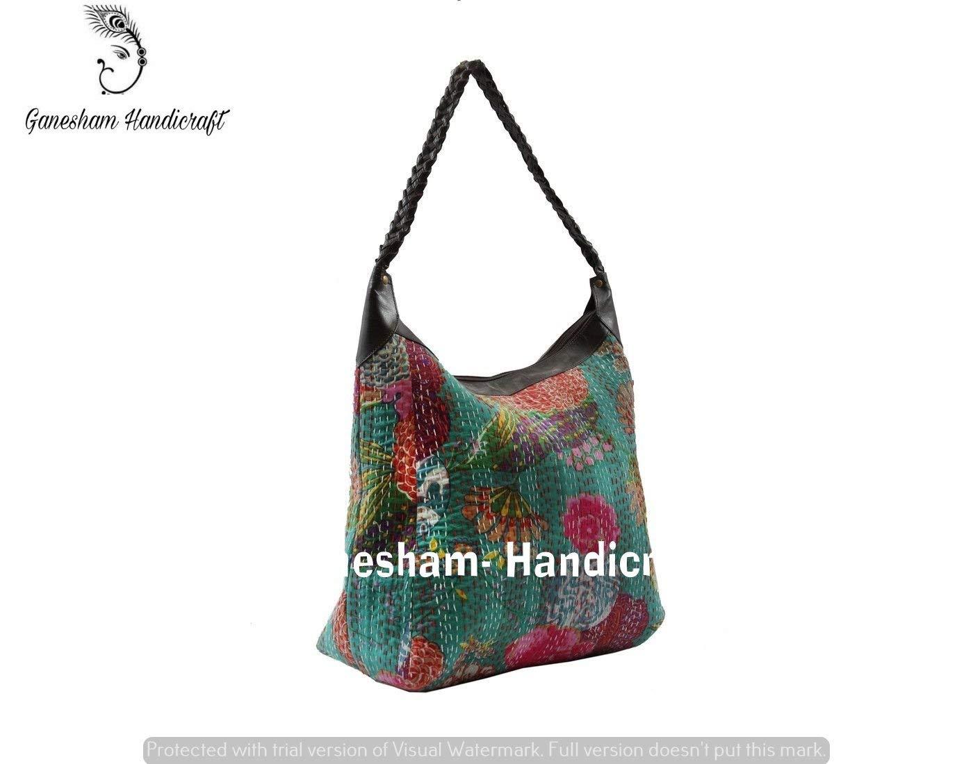 cde1b6a8952 Get Quotations · Indian Handmade Bohemian Kantha Shoulder Bags Hippe  Top-Handle Cotton Handbag Boho Hobo Tote Bag