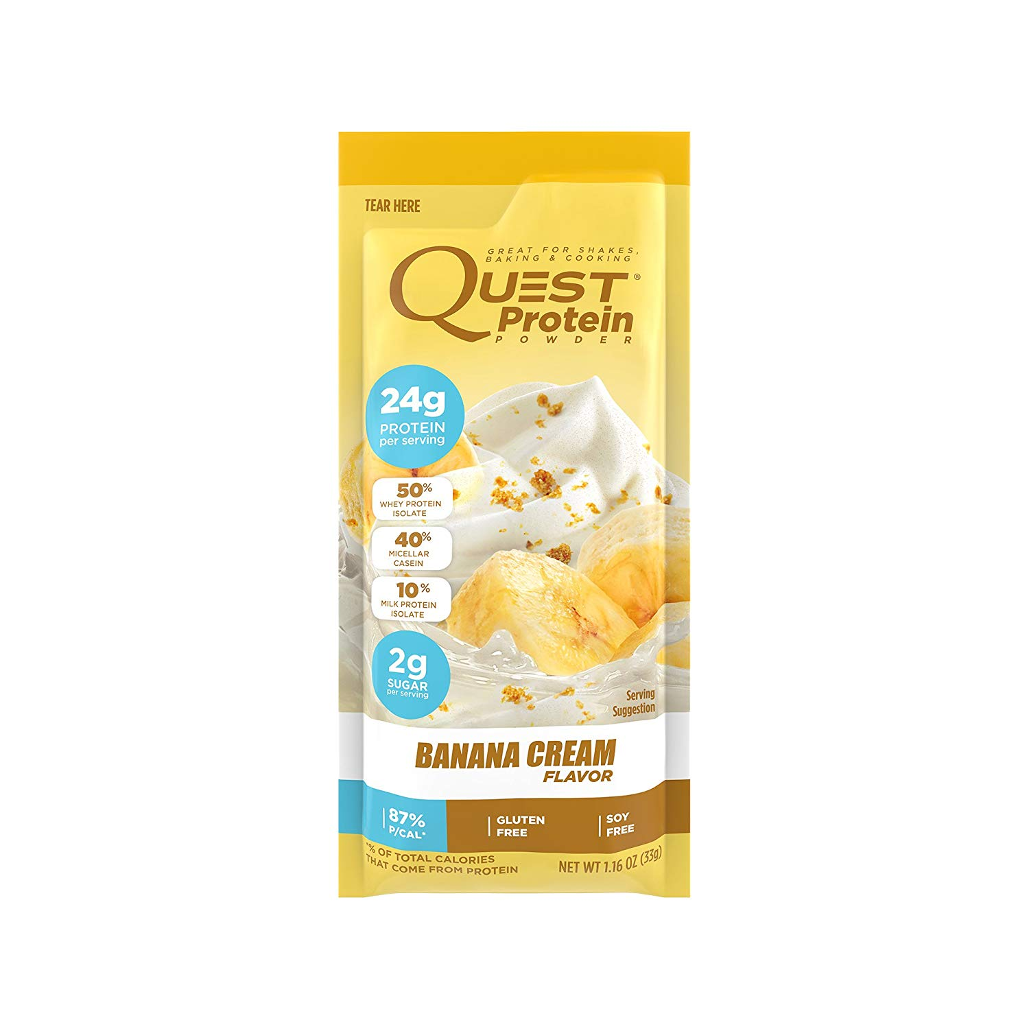 Quest Nutrition Protein Powder, Banana Cream, 21g Protein, 3g Net Carbs, 84% P/Cals, 0.99oz Packet, 12 Count, High Protein, Low Carb, Gluten Free, Soy Free, Packaging May Vary