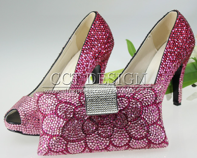 Pink High Heels For Wedding: Handmade Women Low High Heels Evening Dress Bridal High