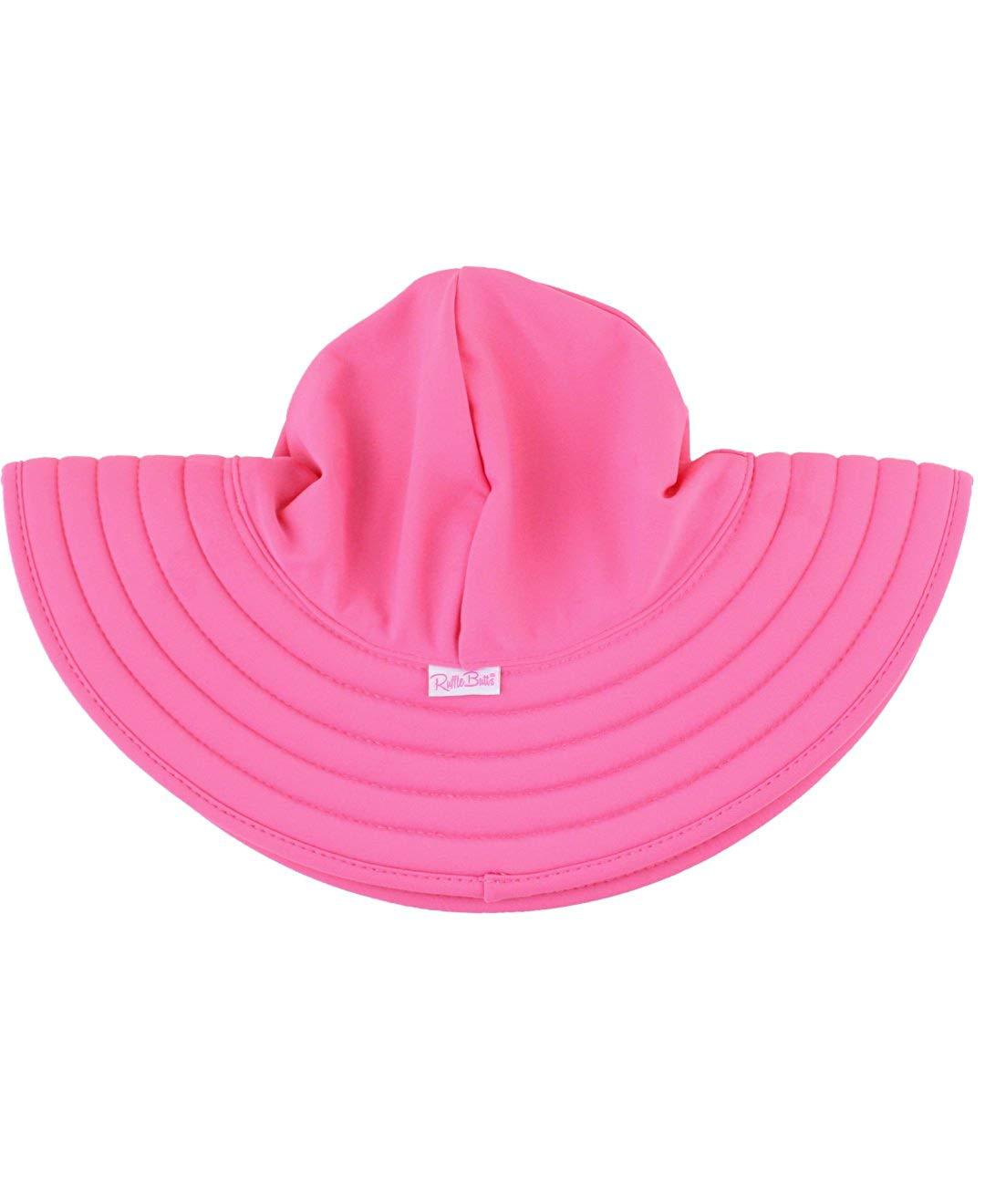 c159c3a52c9 Get Quotations · RuffleButts Baby Toddler Girls Hot Pink Wide Brim Swimwear Sun  Hat w UPF 50
