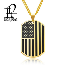 Wholesale Classical American flag Army card Pendant Stainless Steel Necklace