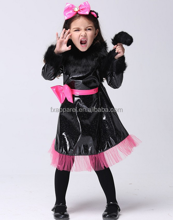 S-XL lovely black kitty cosplay costume little girls halloween cosplay costume