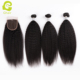 Factory wholesale hair vendor three weft with closure no shedding hair bundles with closure in kinky straight
