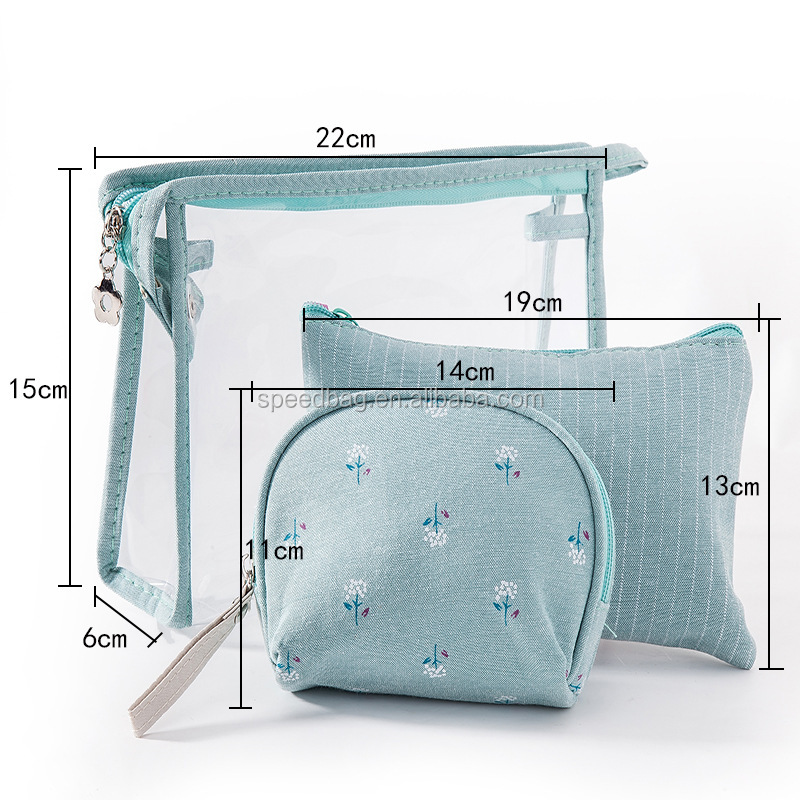3pc/set fashion clear transparent handbag women waterproof PVC cosmetic bag set makeub bag organizer