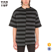 Factory wholesale cotton blank asymmetric panelled yarn dyed striped t shirts for men