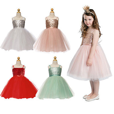 2016 New Baby Girls font b Dress b font Flower Kids Baby Princess Sequin Gown font