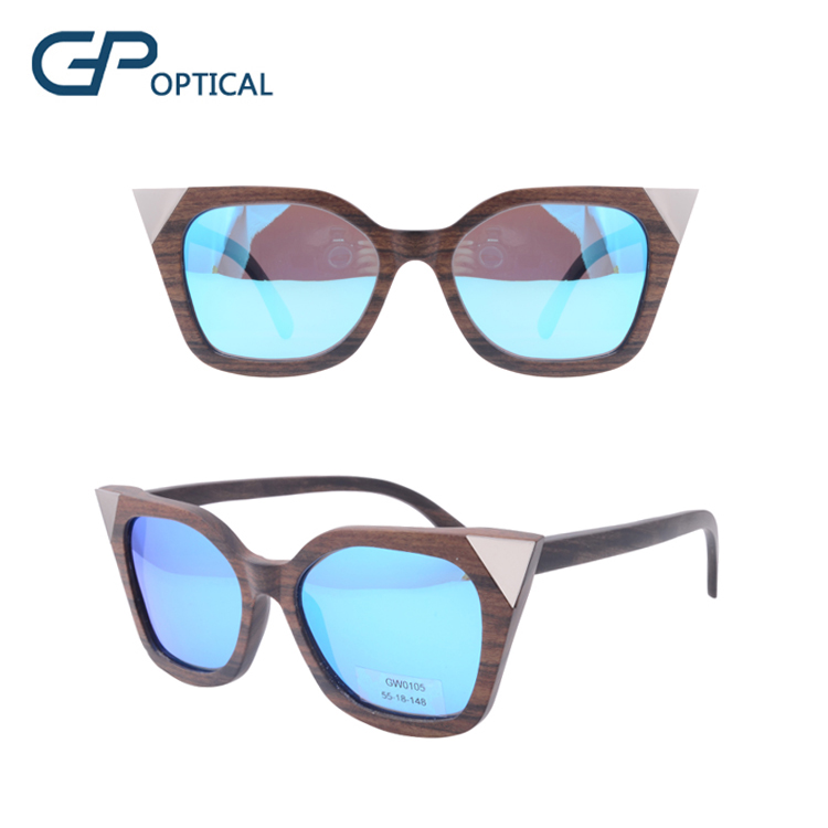 GW0105 2018 New design cat eye wood sun glass fashionable wooden sunglasses manufacture