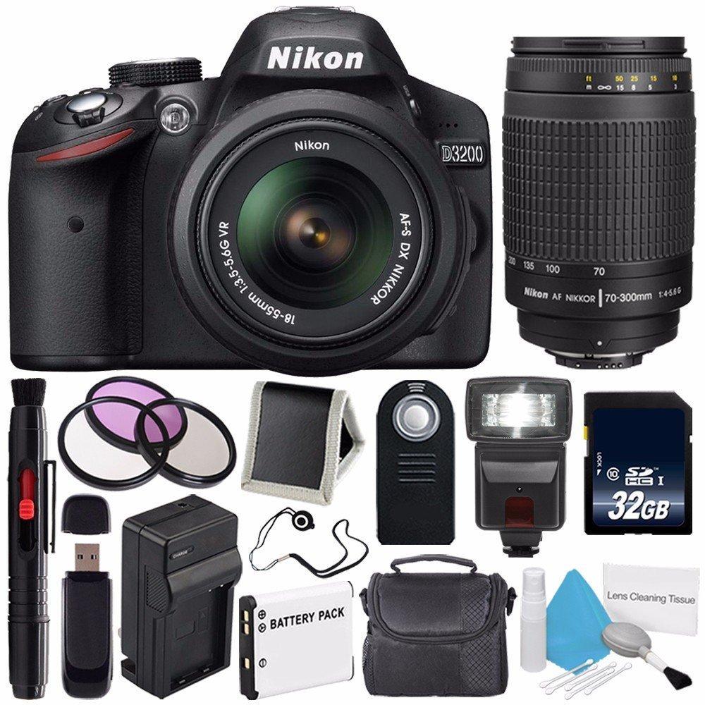 Nikon D3200 Digital Camera w/ 18-55 VR II Lens (International Model No Warranty) + Nikon 70-300mm f/4.5-5.6G ED IF AF-S Nikkor Zoom Lens + 32GB SDHC Class 10 Memory Card + External Flash Bundle 44