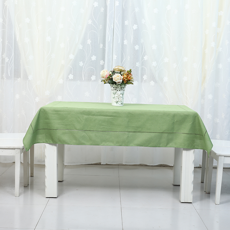 Green bamboo fabric tablecloth Plain colored bamboo striped chenille tablecloth