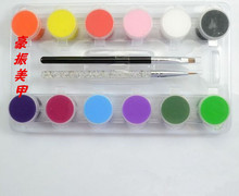 Nail polish 12 color pigment suit painted flower pen pull row pen strokes painted new crystal light therapy