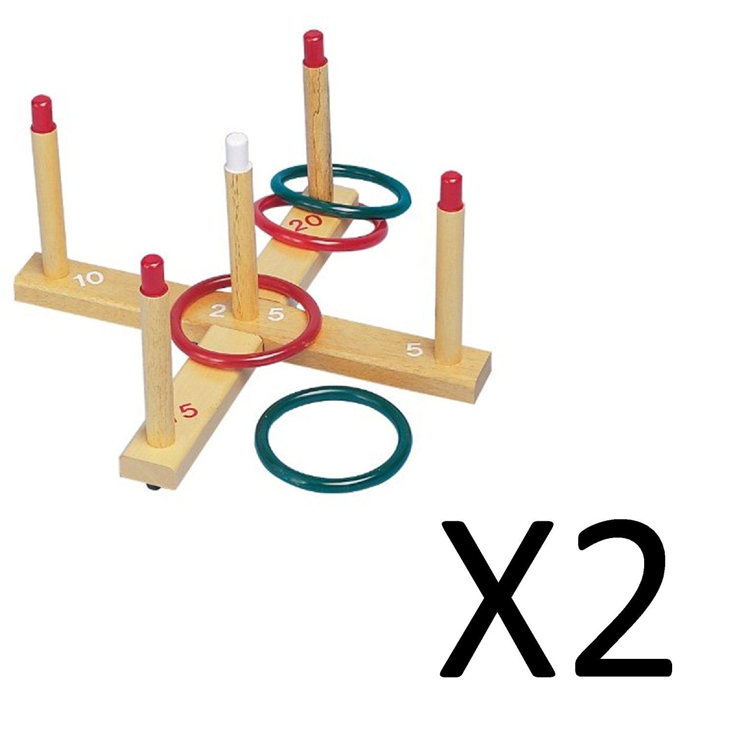 Champion Sports : Ring Toss Set, Plastic/Wood, Assorted Colors, Four Rings/Five Pegs per Set -:- Sold as 2 Packs of - 1 - / - Total of 2 Each