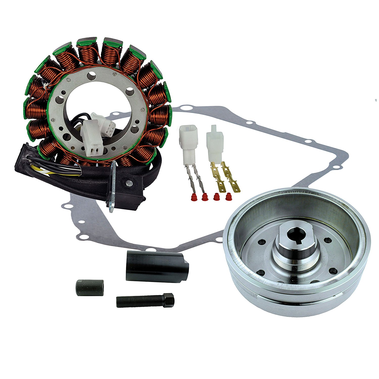 Kit Improved Flywheel + Flywheel Puller + Stator + Crankcase Cover Gasket For Arctic Cat 400 Auto 2002 2003 2004 2005 2006 2007 2008
