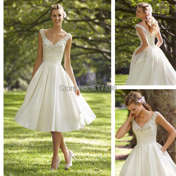 50s Vintage Inspired Pocket Wedding Dress A Line Wedding