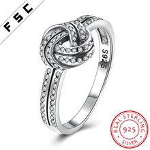 Women Wholesle Silver 925 New Model Knot Cross Zircon Gemstone Wedding Ring Design