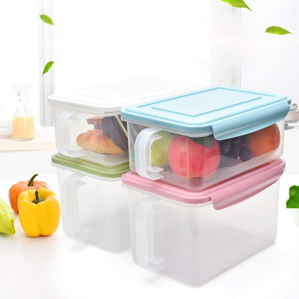 Esdella Refrigerator/Freezer Organizer Bins with Handles and Lid | Stackable Storage Containers | Pantry Storage Bins