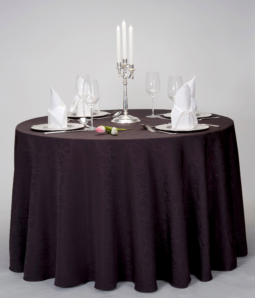 New Design Black Fancy Circles Pattern Round Table Cover For Party