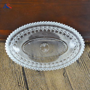 Oval Shape Deep Plate Decorative Glass Candy Dish 7inch