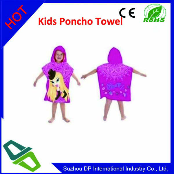Promotional kids Poncho Printed Beach Towel with Cartoon Image
