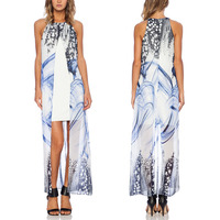 Two pieces chiffon covered print white base lined lady fashion dress for summer
