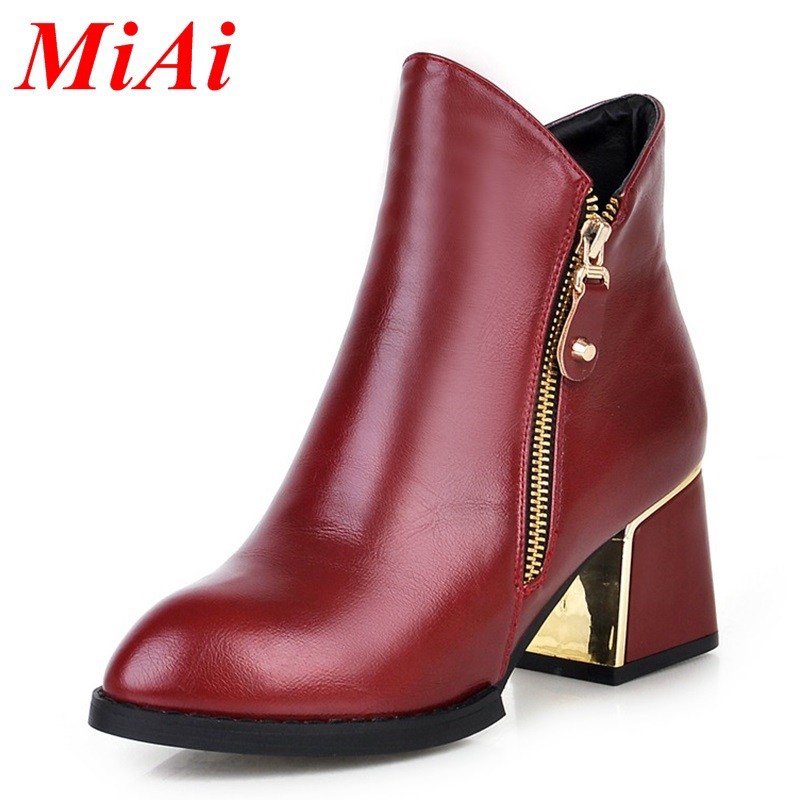New fashion style women shoes 2015 pointed toe zipper Casual shoes women high-heeled ankle boots yellow black winter boots 34-39