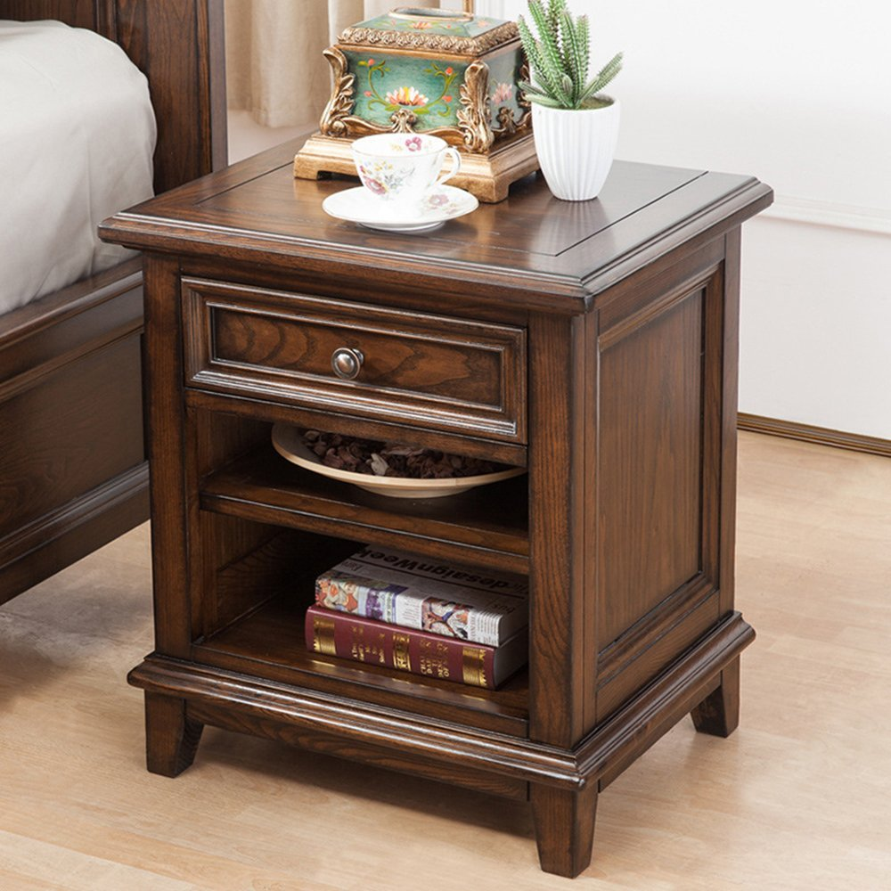 LIUJIANGLONG LJ&L Pure hand-lockers bedside tables, black walnut single chest drawers, tenon craft, home bedroom living room luxury bedside table,Black walnut,21.616.924inch