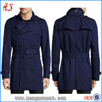 Fashion Slim-Fit Double-Breasted Blueberry Trench Coat Man Keep Warm Winter Coat