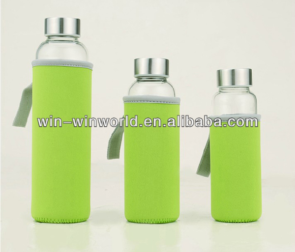 Handmade Glass Bottles For Juice With Cover