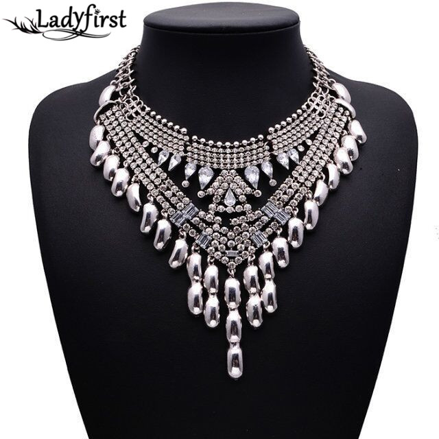 2016 New Arrival Fashion Multi Layer Necklace Gold Color Tassel Gem Collar Choker Women Maxi Summer Necklace B419