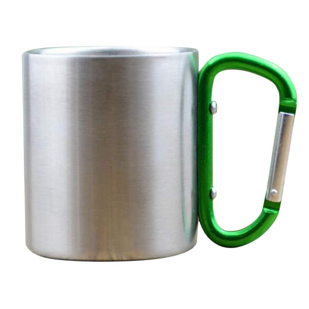 Homyl 2pcs Green&Blue Carabiner-Travel-Camping-Metal-Mug-Coffee-Beer-Cup-10oz