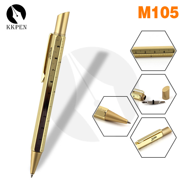 Shibell new product gold plated tool pen with ruler and screwdriver