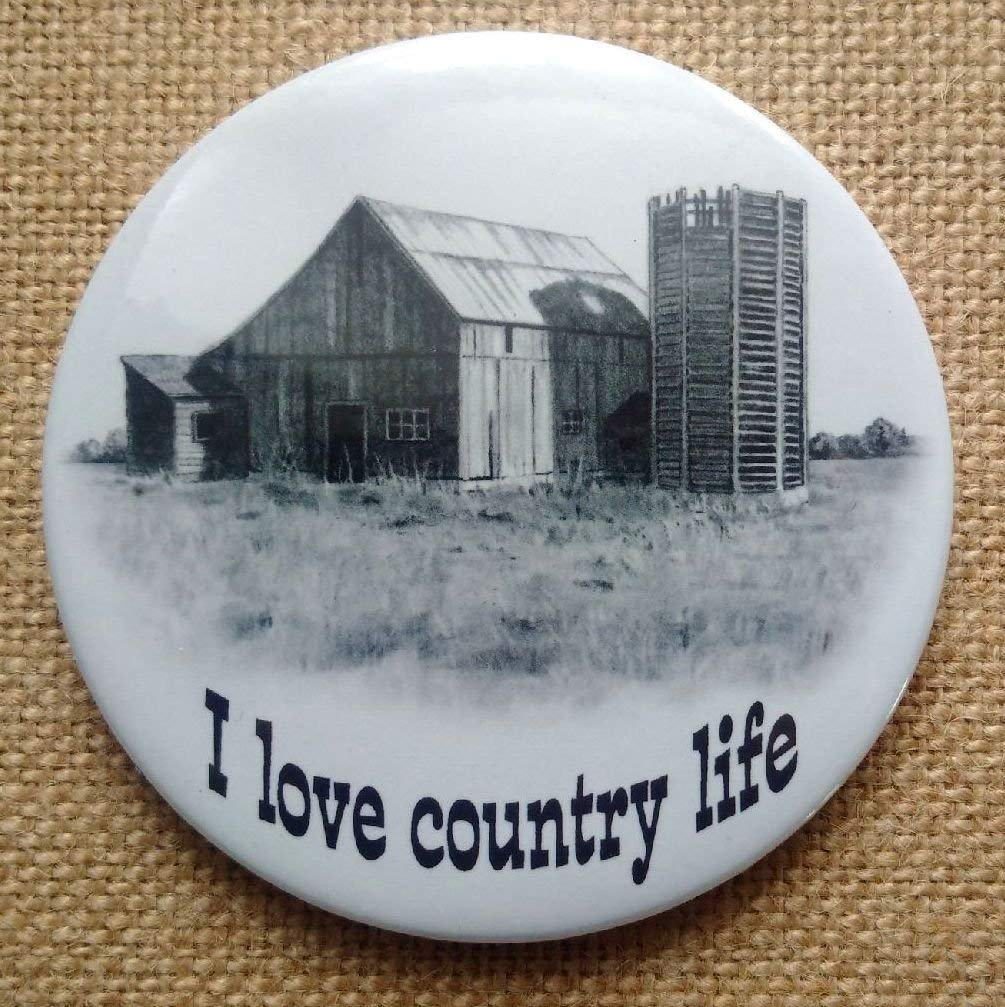 """Fridge Magnet, 3.5"""", Old Barn and Wooden Silo, I Love Country Life, Pencil Drawing, Rustic, Original Art"""