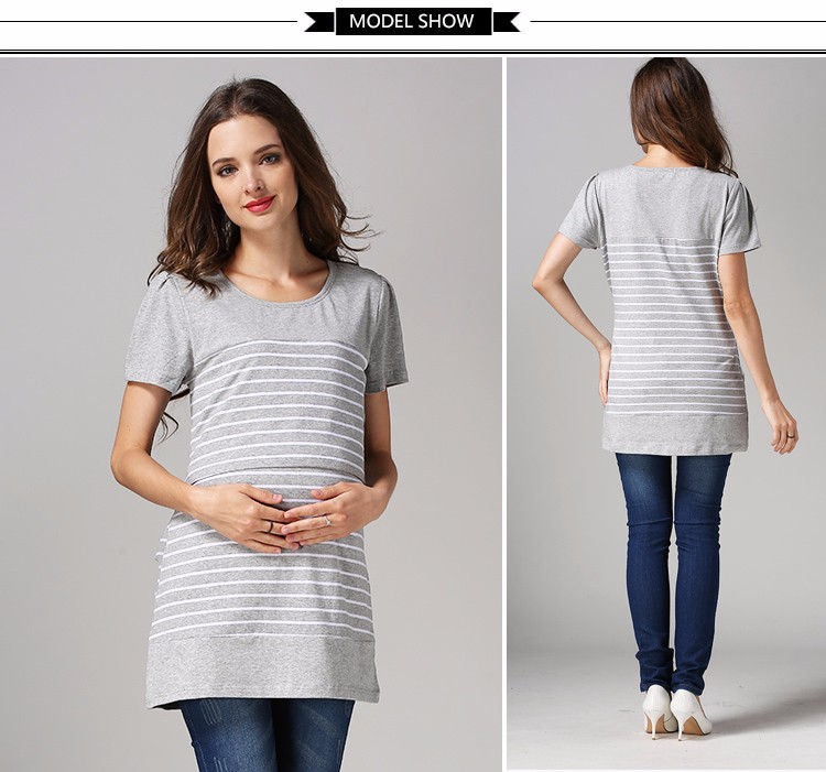 Pregnant woman shirts breastfeeding tops wholesale strips maternity T-shirts