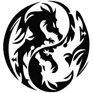 WHITE Vinyl Decal Yin Yang Dragon circle fun sticker truck boat tribal symbol
