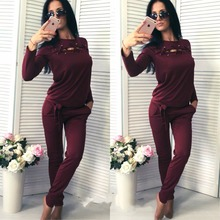 2017 autumn and winter girl round neck long sleeve shirt and leisure sports pants