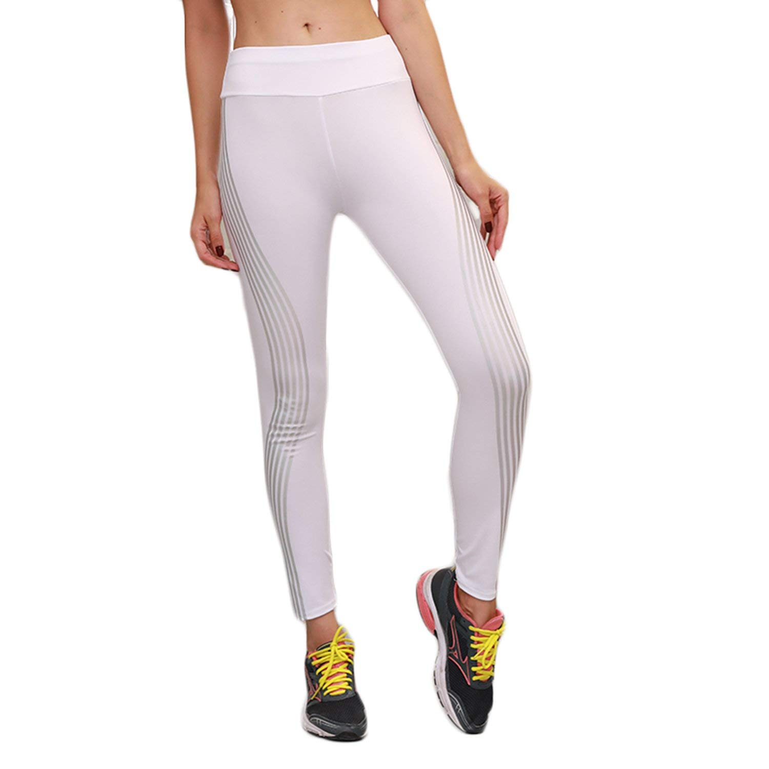 a6390365b2792 Get Quotations · Women's Reflective Yoga Leggings Shiny Stripes Side Sports Fitness  Stretch Workout Gym Leggings Athletic Pants