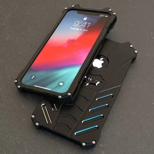 Wholesale R-JUST Shockproof Anti-drop Aerospace Aluminum Metal Batman Phone Case for Apple iPhone xs max