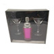 SANMENG 350ml plastic double wall stainless steel cocktail shaker with martini glass 3 pcs gift bar set