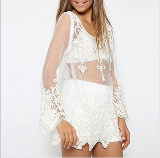 Blusas Femininas 2015 Sheer See Through Tops Women Embroidery Floral Crochet Lace Blouse Shirt Tops Lady Sexy Transparent Blouse