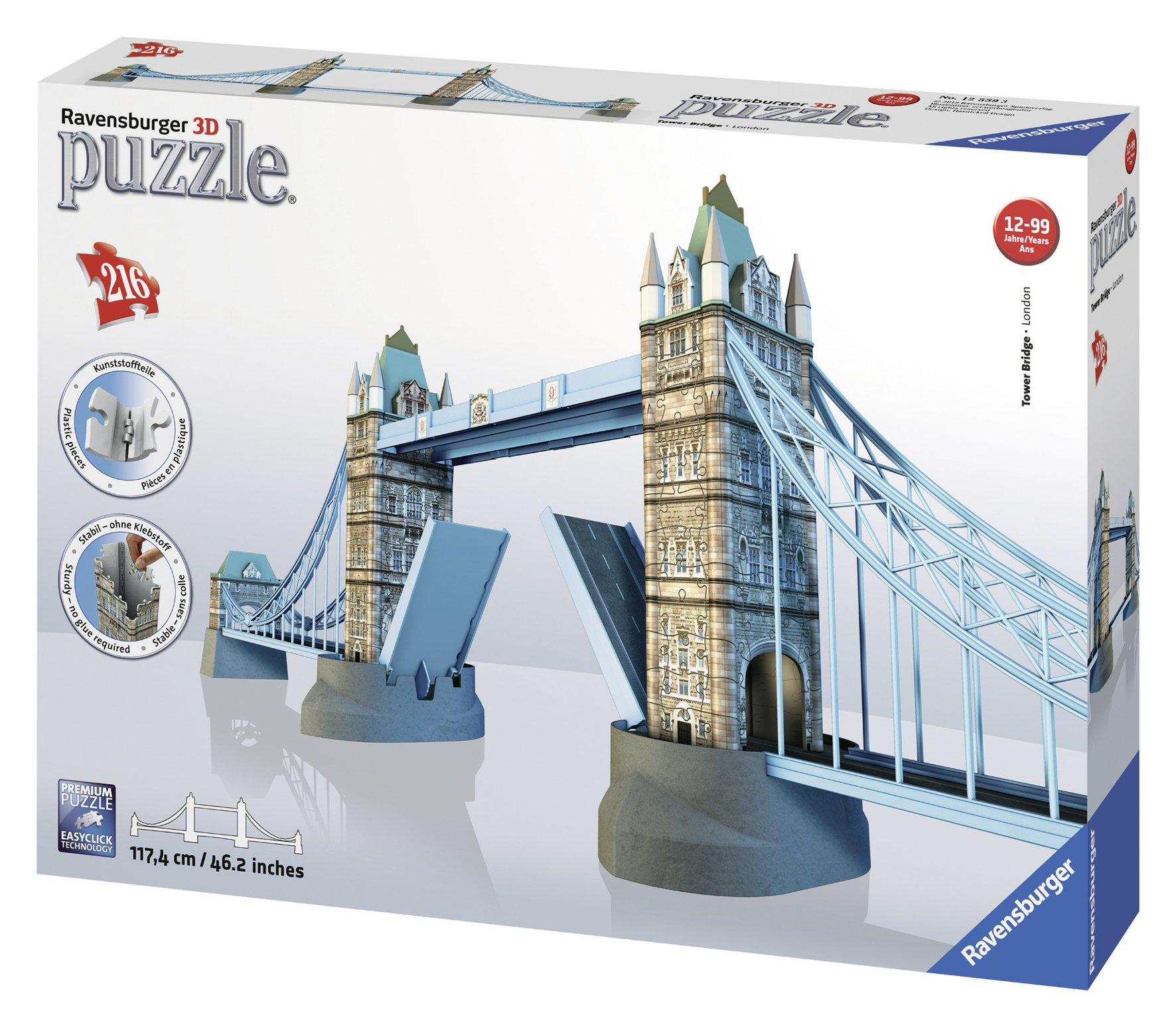 21ac9b6b406 Get Quotations · Ravensburger Tower Bridge 216 Piece 3D Jigsaw Puzzle for  Kids and Adults - Easy Click Technology