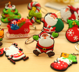 OEM Christmas Gifts crafts type key chain 3d soft pvc rubber keychains with Santa Claus Christmas Tree
