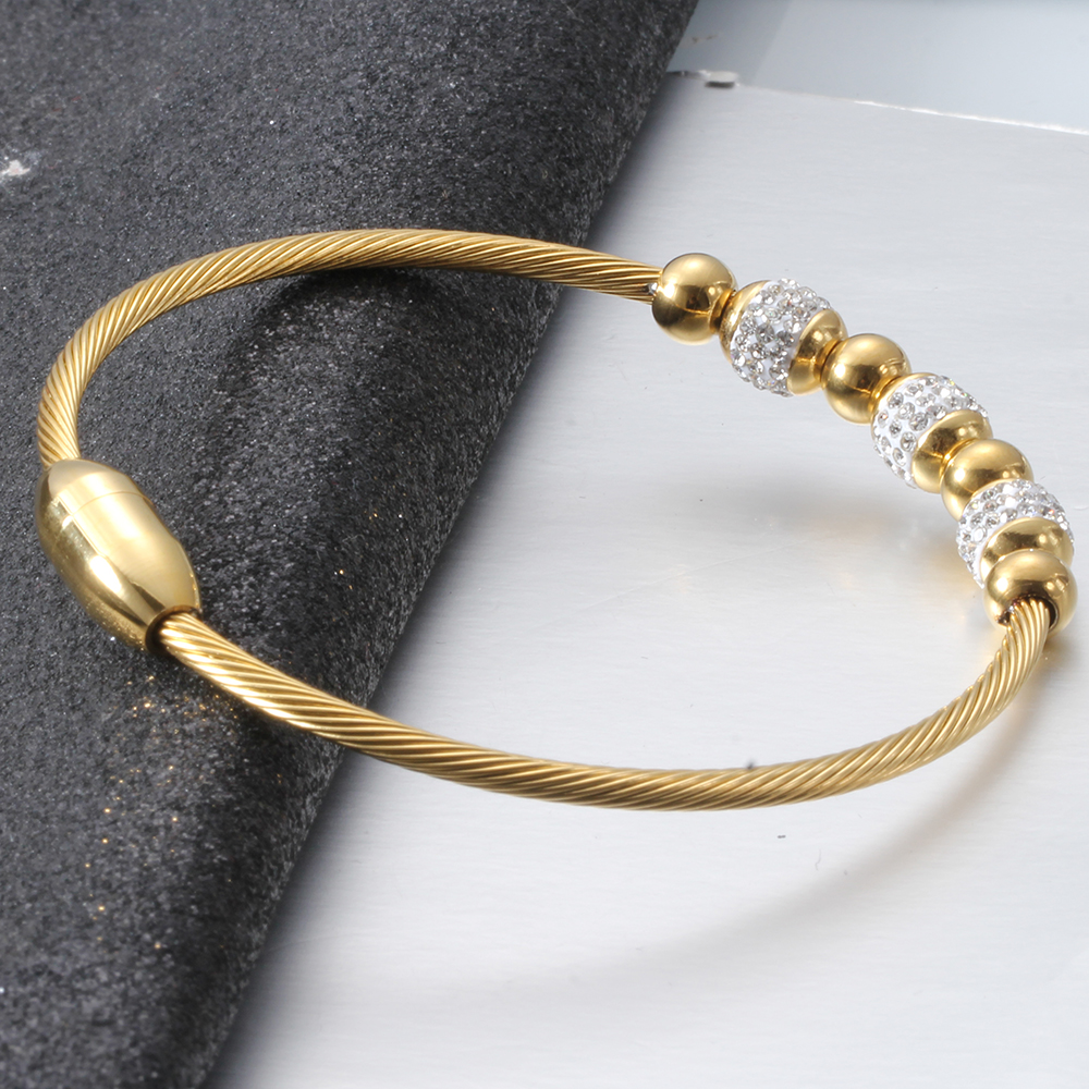 Fashion Cable wire Stainless steel Crystal Charm Bracelet Bangles Magnet Clasp  Women  jewelry