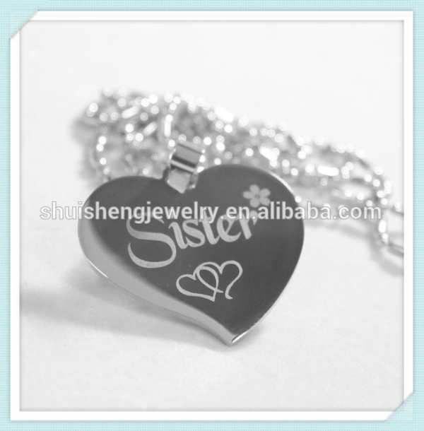 New style fashion custom free engraved stainless steel heart shaped pendant necklace