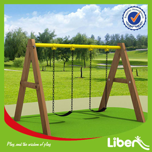 Eco-Friendly Real Wooden Swings in Playground