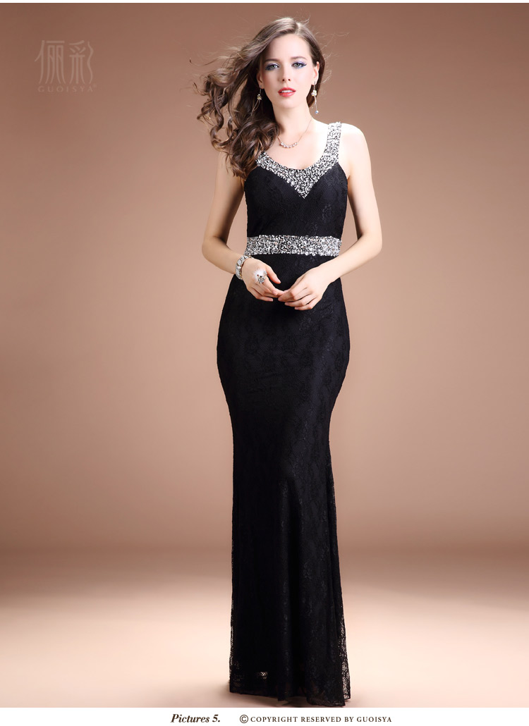 New Sexy Deep V Neck Sequin Dress Tail Double Shoulder Long Evening Dress Bridal Toast Clothing Benjamin4225