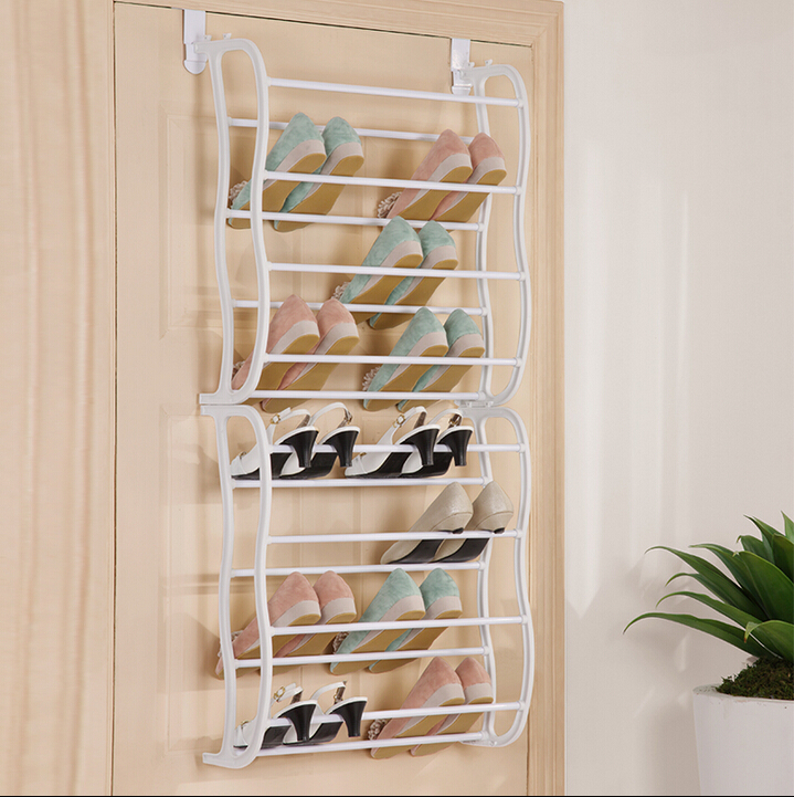 White Curve Shelf Waterproof Shoes Rack Stand Plastic Material Behind Door Shoe