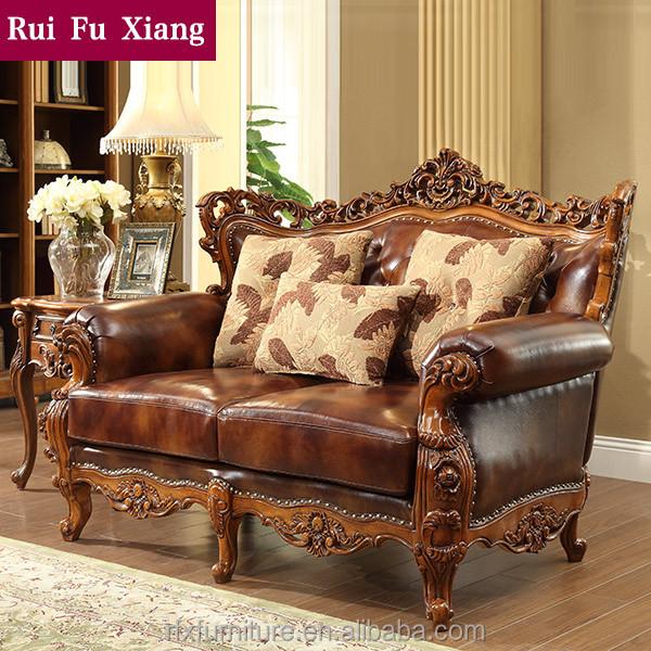 caoutchouc bois massif salon canap en cuir set pour amricaine meubles de archaize n 221 - Salon En Bois Massif Cuire