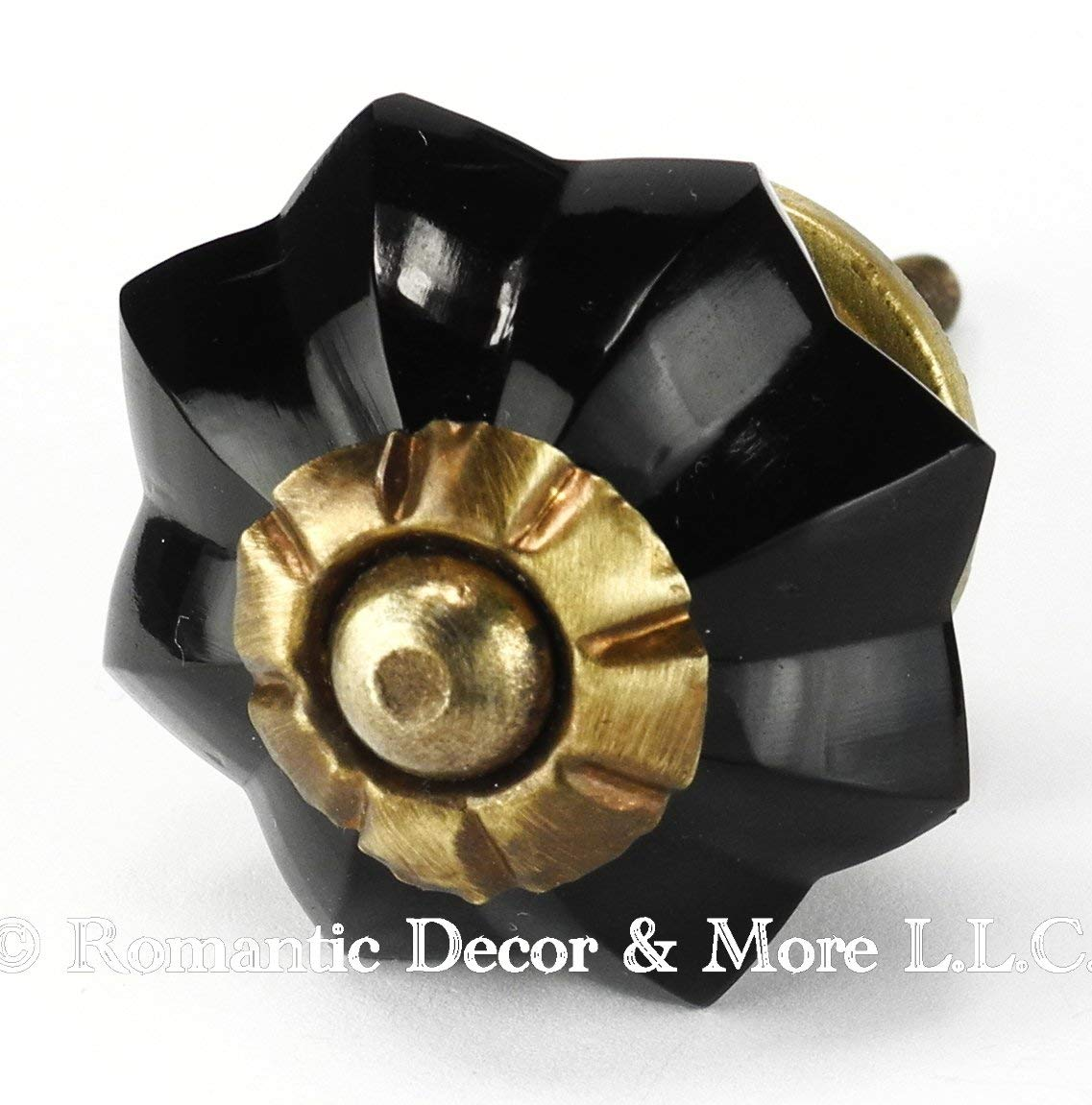 Black Melon Glass Cabinet Knobs, Drawer Pulls & Handles Set/4pc ~ K179RL Classic Glass Knobs with Antique Brass Hardware for Cabinets, Dressers, Kitchen Cabinets and Cupboards