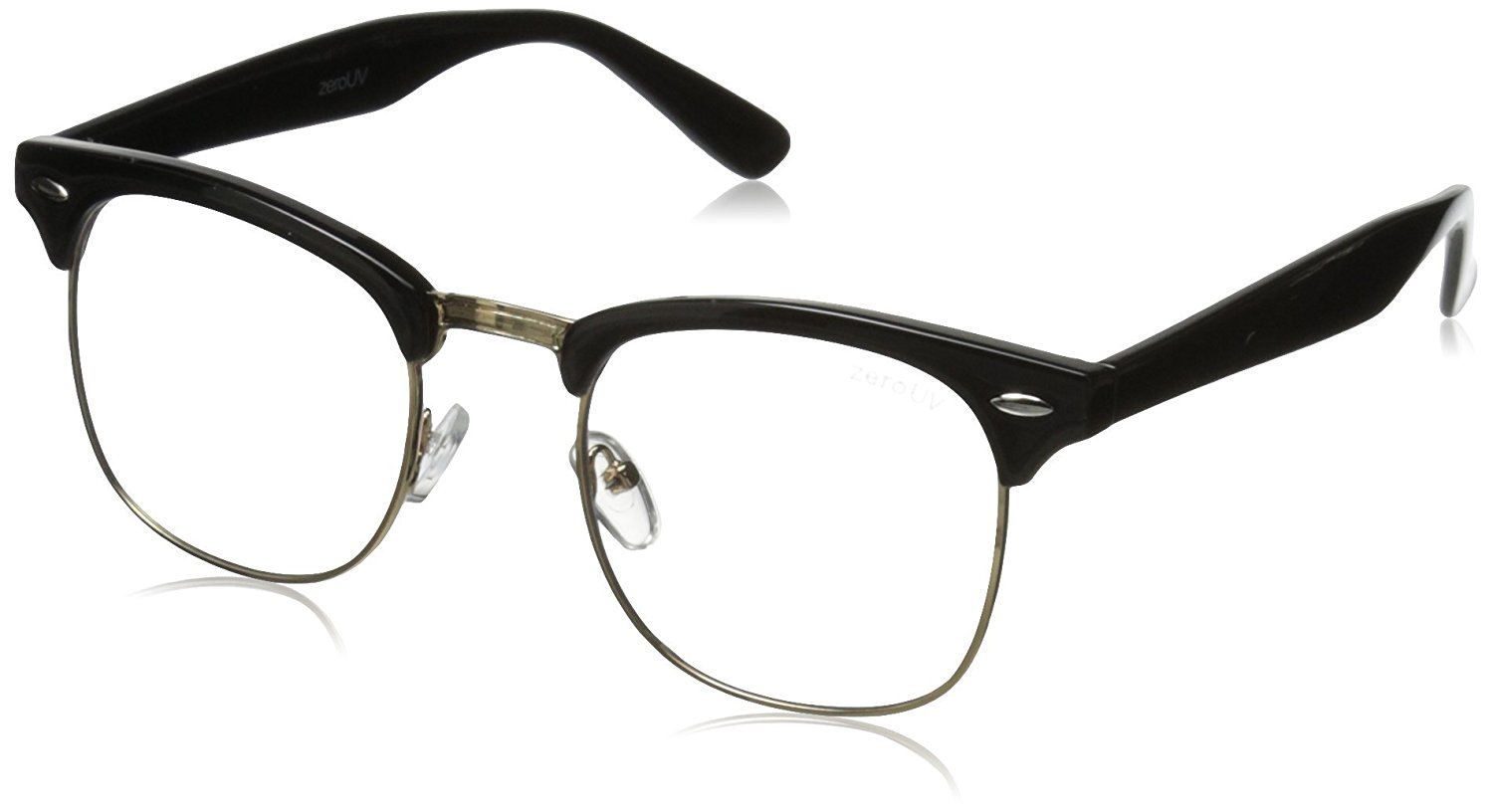 ad4a38f8775d Get Quotations · zeroUV - Vintage Inspired Classic Horn Rimmed Nerd Horn  Rimmed UV400 Clear Lens Glasses