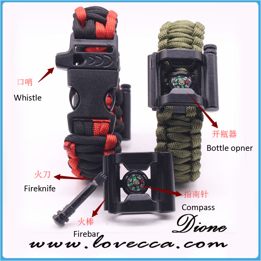 Cool Multifunction paracord bracelet compass flint+ bottle Opener+fire starter bar+blade+thermometer+whistle tool